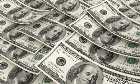 visualisation: Dollars 3d render background visualisation Stock Photo
