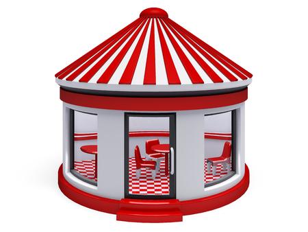 french doors: market  3d render