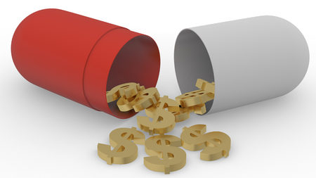 miserly: capsule with dollar signs 3d Stock Photo