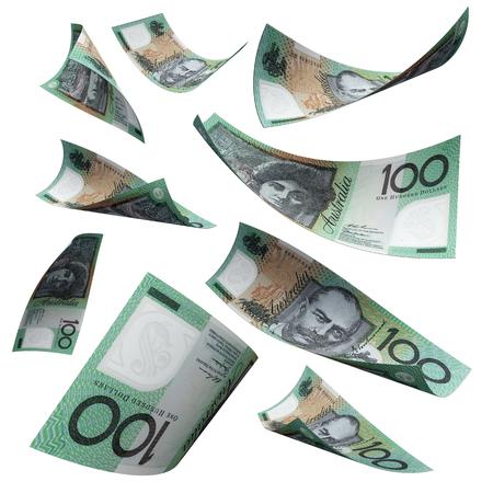 australian dollars: 100 australian dollars notes flying down isolated on white background