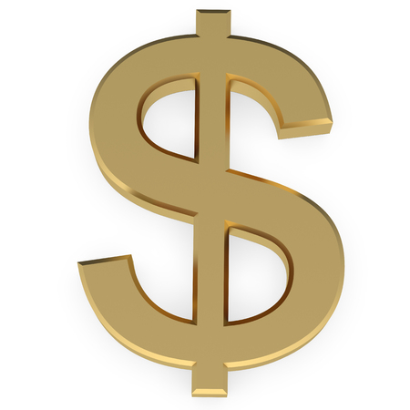 yellow sign: Golden Dollar Sign 3d on white Stock Photo