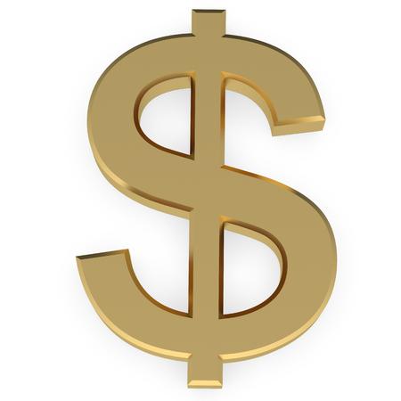signo pesos: Oro 3d signo de d�lar en blanco Foto de archivo