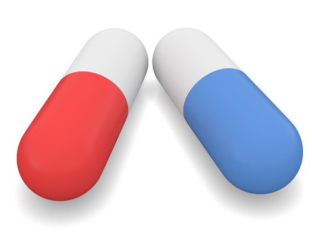 miserly: Pill red and blue 3d render Stock Photo