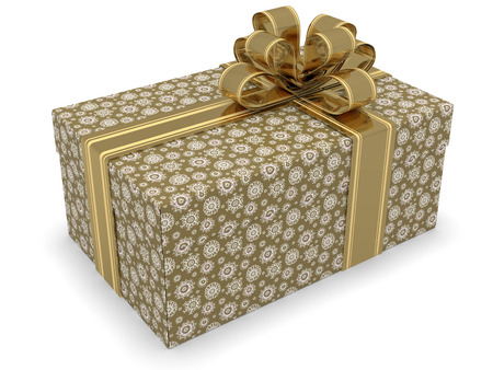goodie: Red gift box with ribbon 3d render