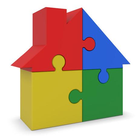 plastic bricks: house made of plastic bricks Stock Photo