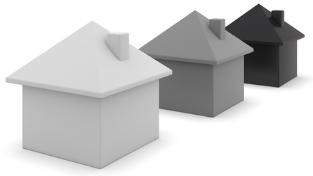 three objects: 3D, computer generated houses concept. Stock Photo
