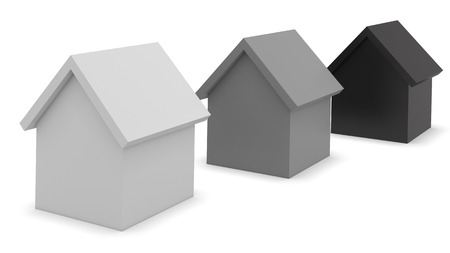 three objects: 3D houses concept 3d render