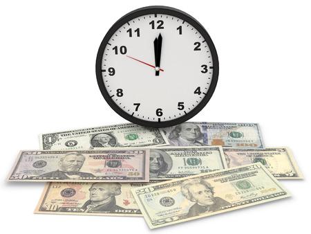 visualisation: Dollars with clock 3d render background visualisation