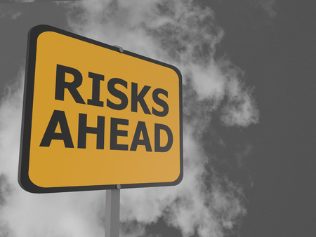 risks ahead: Risks ahead road sign in front of cloudy sky background 3d render