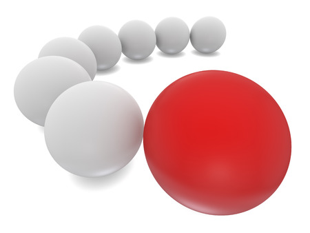 red sphere: White and Red Sphere 3d render on white background