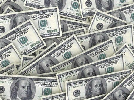 visualisation: Dollars 3d render background visualisation. money. new banknots. Stock Photo