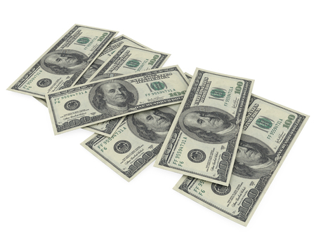 visualisation: Dollars 3d render background visualisation Stock Photo
