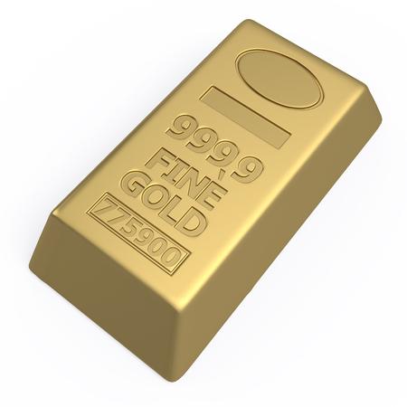 ingot: Gold ingot isolated on white background