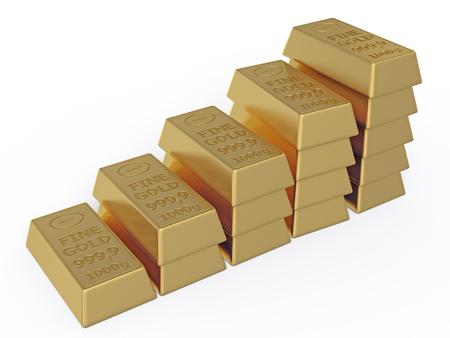 vaulted door: Gold ingots isolated on white background Stock Photo
