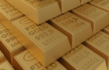 deposit slip: Gold ingots isolated 3d render background Stock Photo