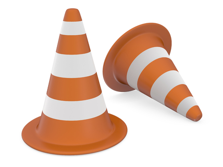 orange sign: Under Construction cones 3d render isolated on white