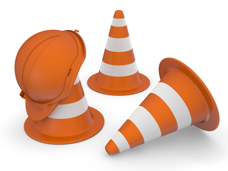 orange sign: Traffic cones and hardhat 3D. Isolated on white. Stock Photo