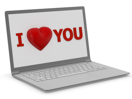 love image: Writing I Love You on display of laptop. Computer generated 3D photo rendering.