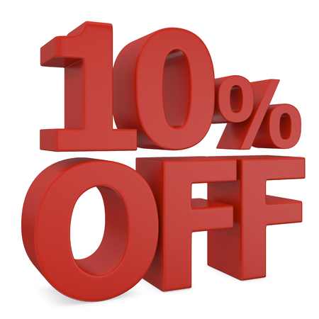miserly: ten percent discount in red