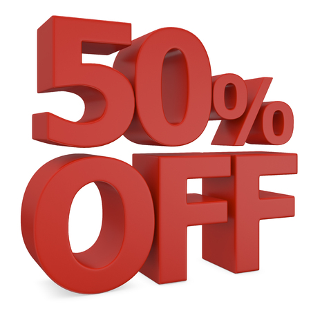 miserly: 50 percent off in red Stock Photo