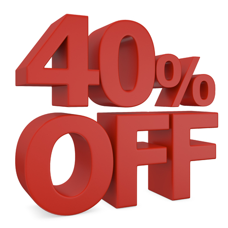 40: 40% discount in red