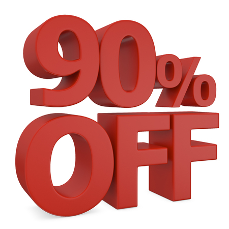 90: 90% discount in red