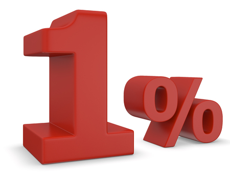 1: 1 percent sale in red Stock Photo