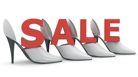 no heels: Full 3D render of red female high heels shoes and sale word a white background