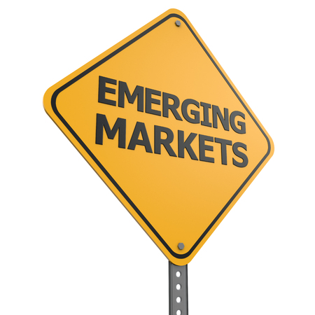 emerging markets: Emerging Markets road sign on white