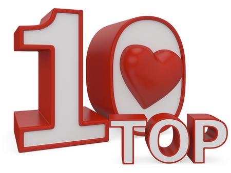 top ten: love top ten 3d on white