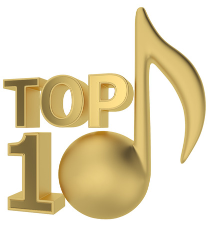 top 10: music TOP 10 3d render on white background
