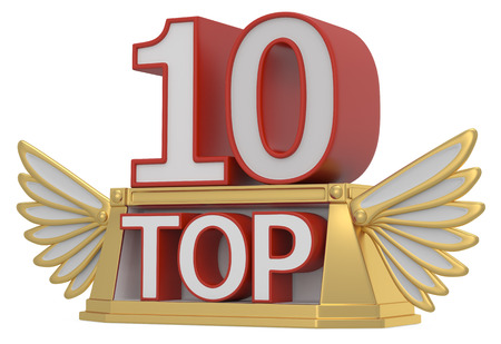 nomination: top 10 on podium. 3D icon isolated on white background