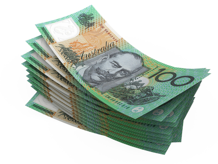 credit crunch: australian dollars. cash 3d render on white
