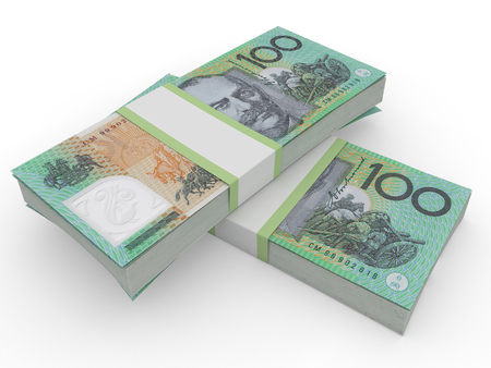 winning stock: australian dollars. cash 3d render on white
