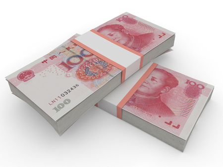 credit crunch: yuan. cash 3d render on white background