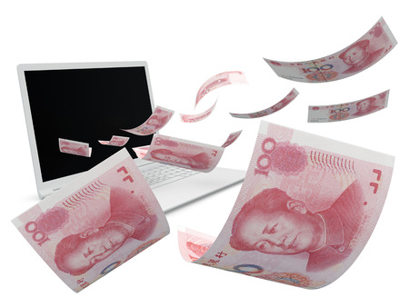 yuan: yuan. cash 3d render on white background