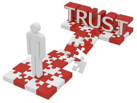 broken trust: trust broken concept idea 3d render on white