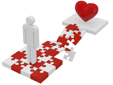 red puzzle piece: broken love 3d concept on white Stock Photo