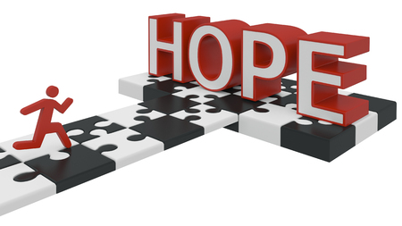 red puzzle piece: the desire for hope 3d concept on white Stock Photo