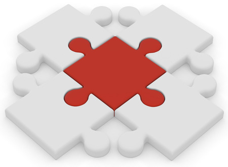 red puzzle piece: Four large 3D white puzzle pieces are surrounding and connected to a large 3D red puzzle piece with a white background.