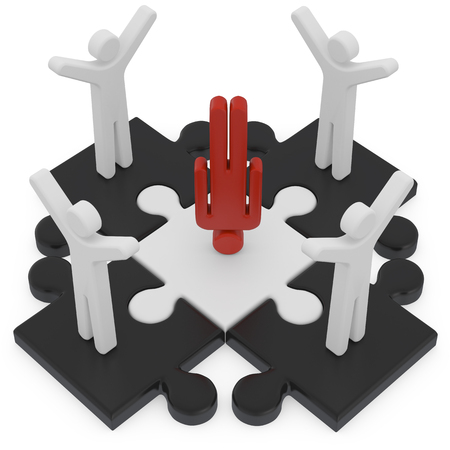 red puzzle piece: whether unique 3d render on white background