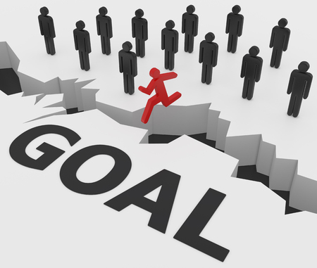 broken strategy: achievements of goals 3d concept Stock Photo