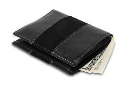 wallet with money isolated on white photo