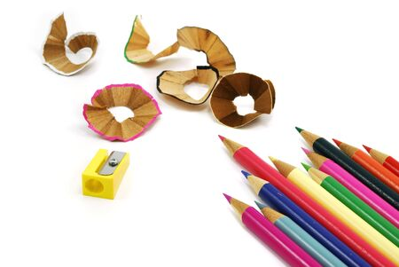 wood shavings: crayon with shaving and sharpener