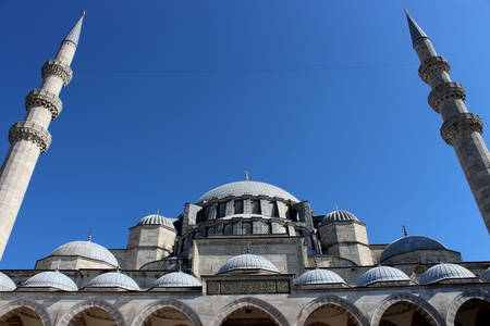 Minarets of Suleymaniye Mosque extending to the sky