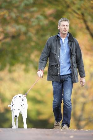 dog walking: Man Walking Dog Through Autumn Park Listening to MP3 Player