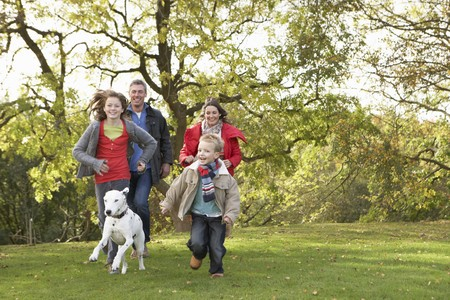 animal family: Young Family Outdoors Walking Through Park With Dog