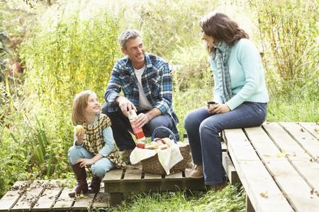 pique nique en famille: Parents et enfants ayant pique-nique en campagne