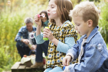 Two Young Children Blowing Bubbles On Countryside Picnic photo