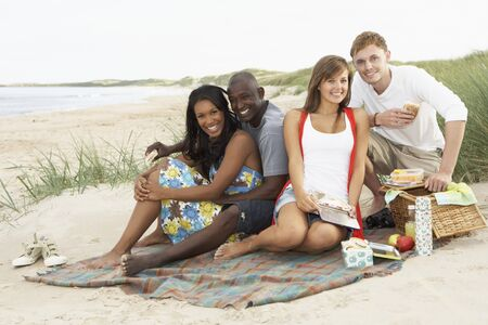 Group Of Young Friends Enjoying Picnic On Beach Together photo